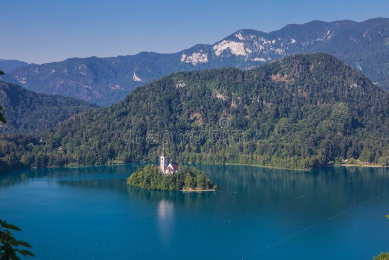 Isla Bled en Eslovenia fotos de archivo