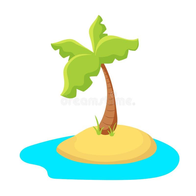 Isla colorida de la palmera Isla tropical en el mar Ejemplo del vector de la historieta de la isla de palma en el fondo blanco ilustración del vector