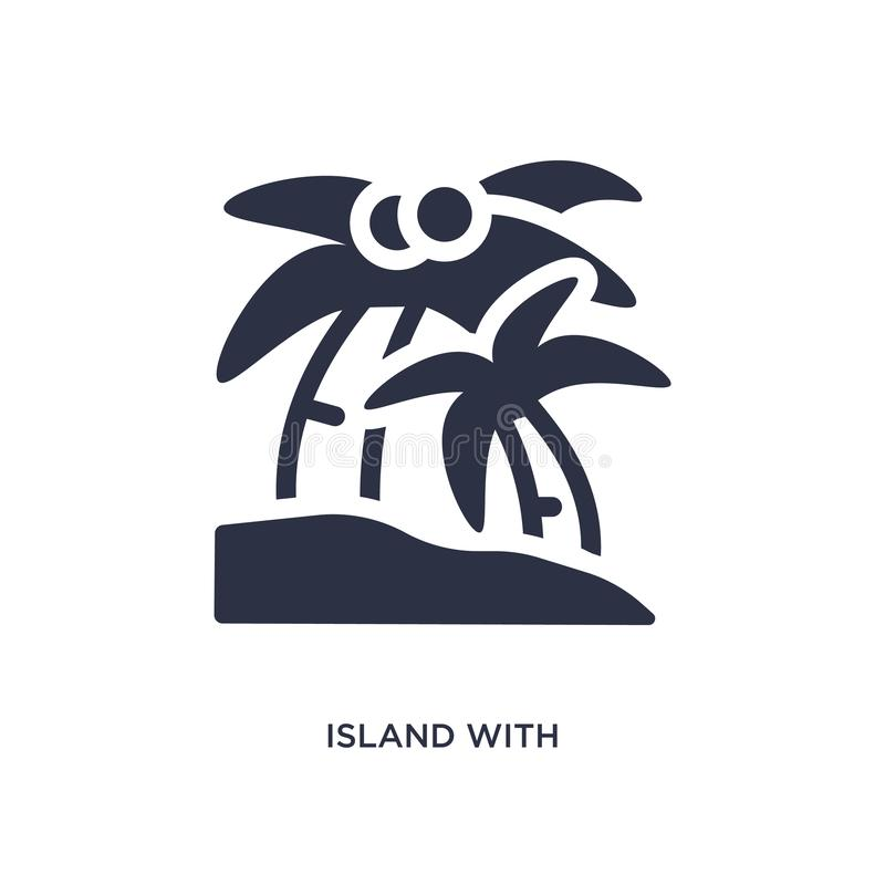 Isla con el icono de las palmeras en el fondo blanco Ejemplo simple del elemento del concepto del verano stock de ilustración