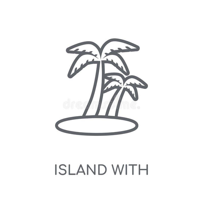Isla con el icono linear de las palmeras Isla moderna del esquema con p stock de ilustración