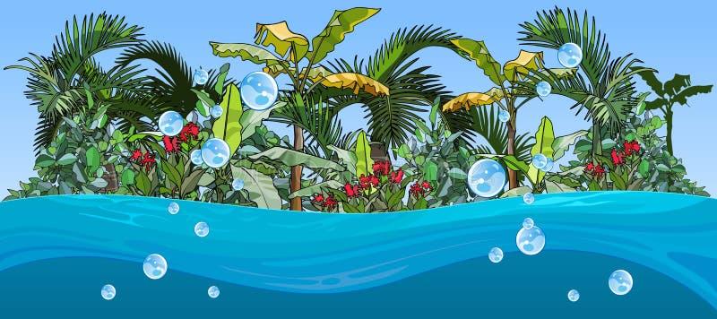 Isla con las palmeras y las plantas tropicales, la visión desde el océano libre illustration