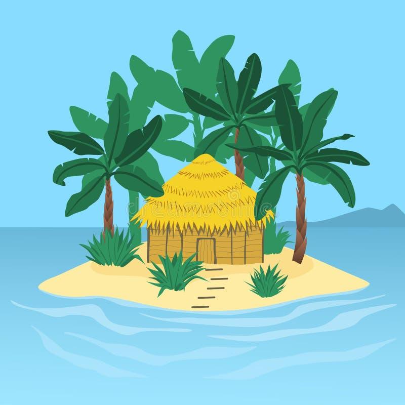 Isla con palmeras y una choza stock de ilustración