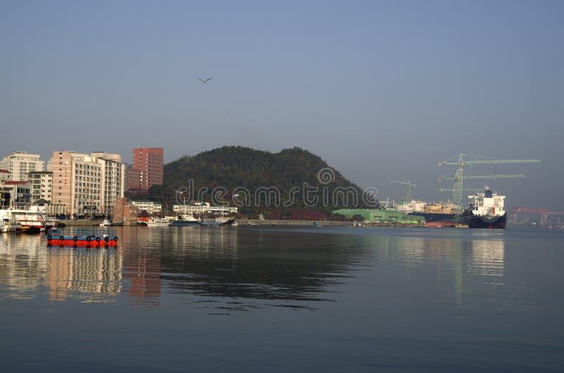 Isla Corea de Geoje del astillero de Sumsung Heavy Industries imágenes de archivo libres de regalías