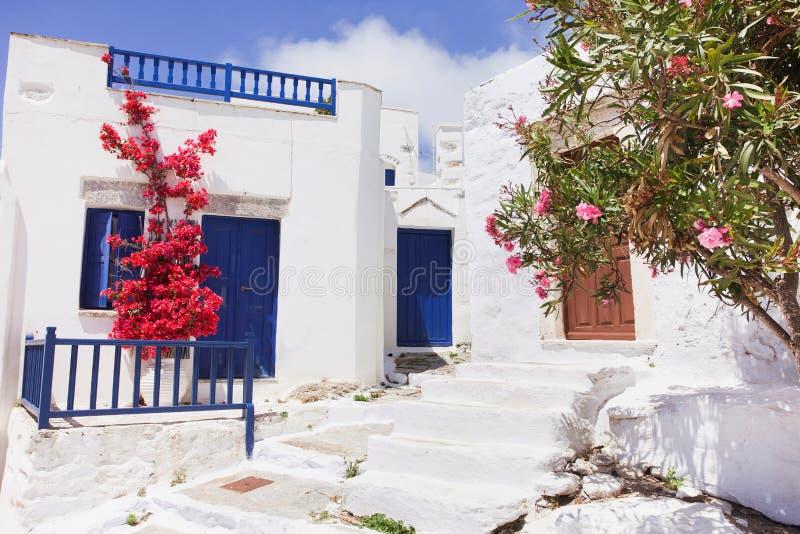 Isla de Amorgos, Grecia, calle griega tradicional con las flores imagenes de archivo