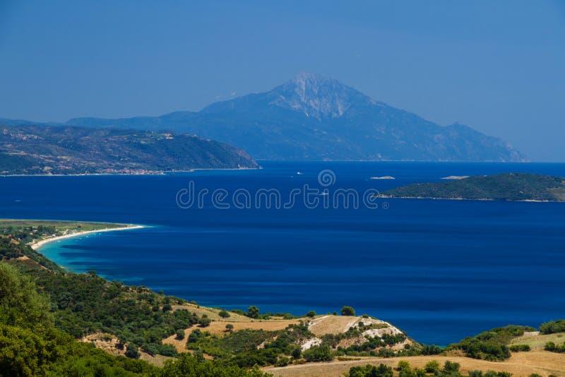 Isla de Athon y playas griegas fotografía de archivo libre de regalías