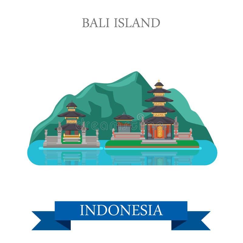 Isla de Bali en la atracción plana del vector de Indonesia ilustración del vector