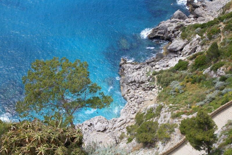 Isla de Capri, vía Krupp, Italia imagenes de archivo