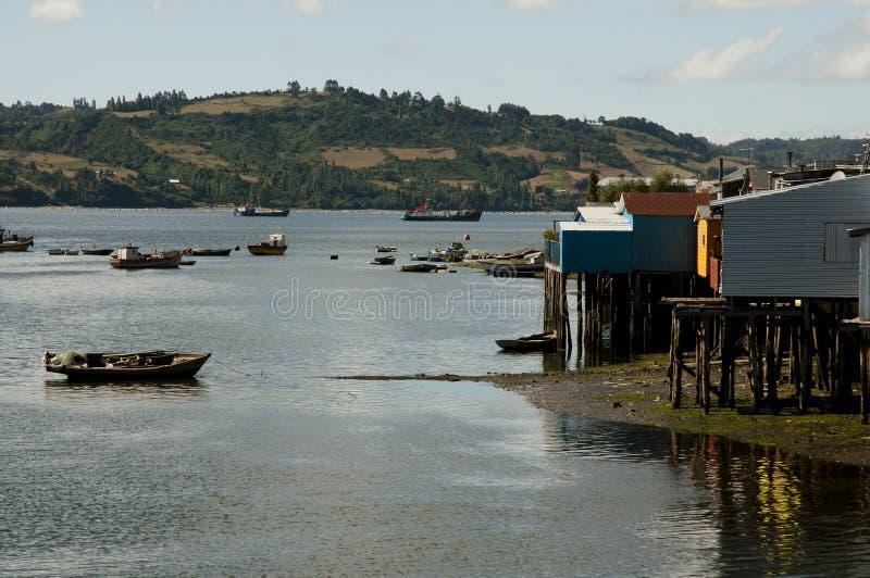 Isla de Castro Bay - de Chiloe - Chile foto de archivo