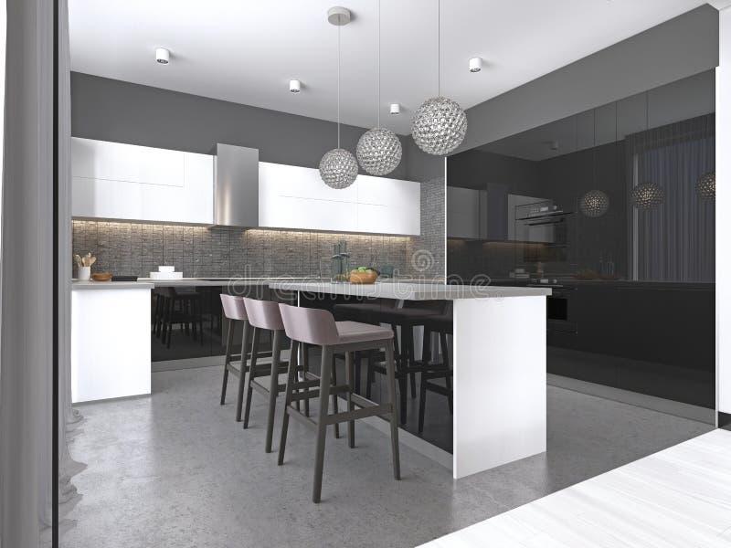 Isla de cocina con tres taburetes de bar y lámparas de cristal redondas en cocina blanco y negro contemporánea stock de ilustración