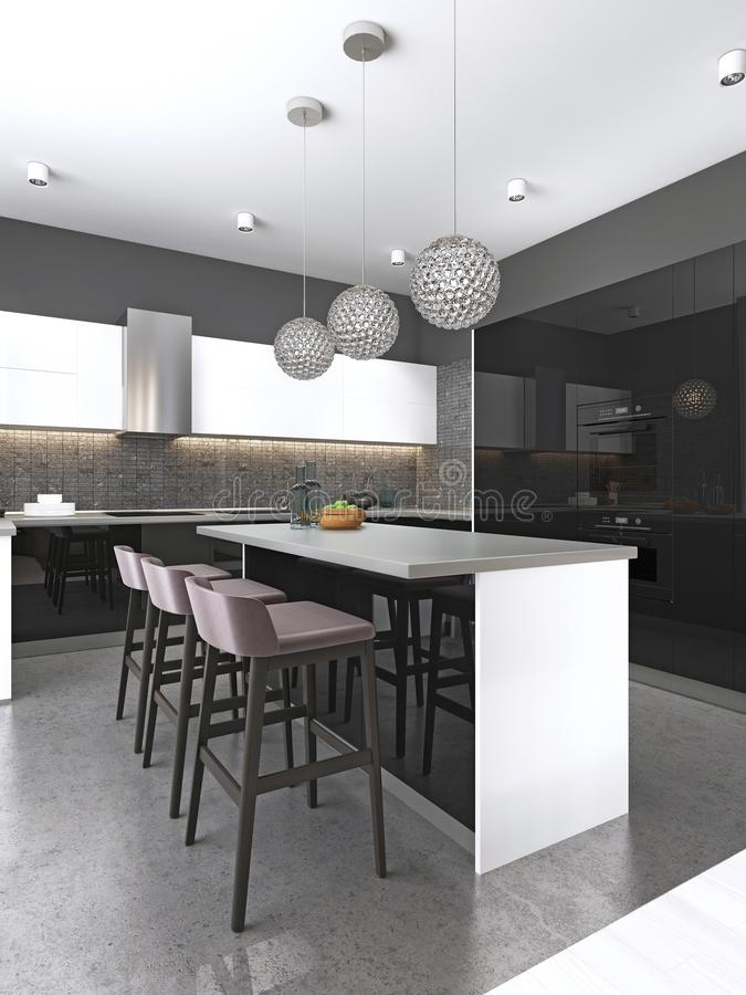 Isla de cocina con tres taburetes de bar y lámparas de cristal redondas en cocina blanco y negro contemporánea libre illustration