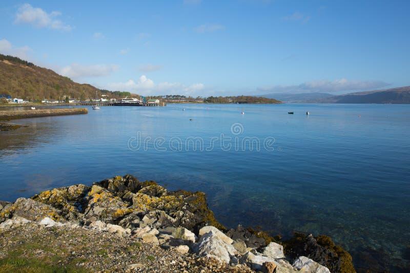 Isla de Craignure Mull Argyll y de la opinión británica de Escocia del Bute al puerto de transbordador fotos de archivo libres de regalías