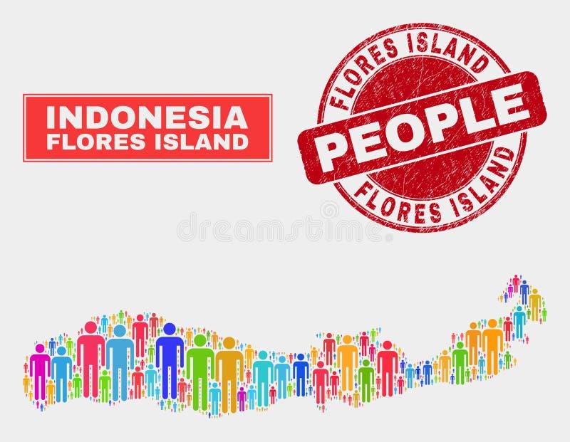 Isla de Flores del Demographics de la población del mapa de Indonesia y del sello sucio del sello libre illustration