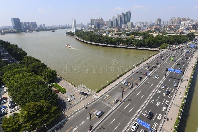Isla de Guangzhou el río Pearl, y de Shamian fotografía de archivo libre de regalías