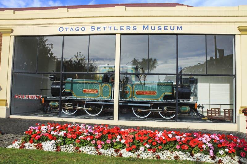 Isla de Josephine Dunedin New Zealand South de la locomotora de vapor del museo de los colonos de Otago imagen de archivo libre de regalías