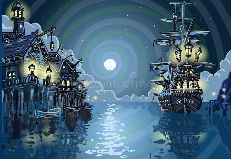 Isla de la aventura - bahía de la ensenada de los piratas libre illustration