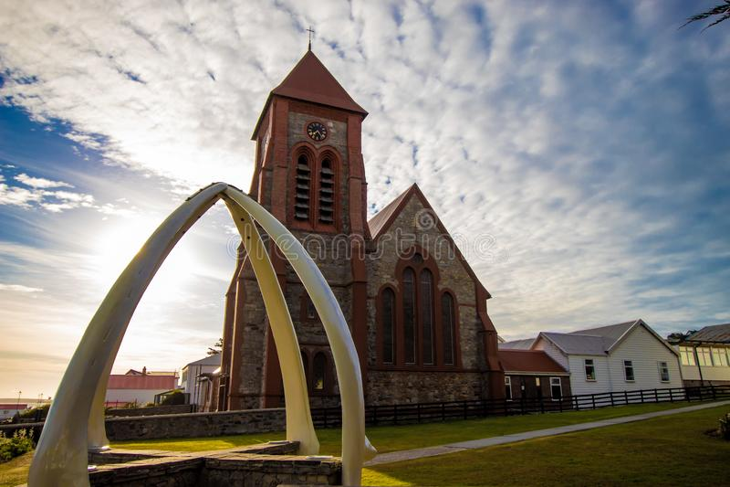 Isla de la catedral, de Stanley, de Malvinas de la iglesia de Cristo y x28; Isla de Malvinas imagenes de archivo