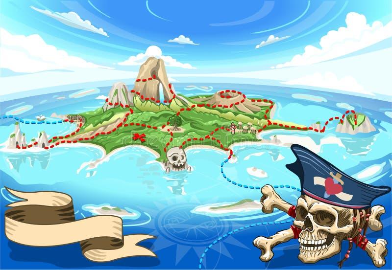 Isla de la ensenada del pirata - mapa del tesoro libre illustration
