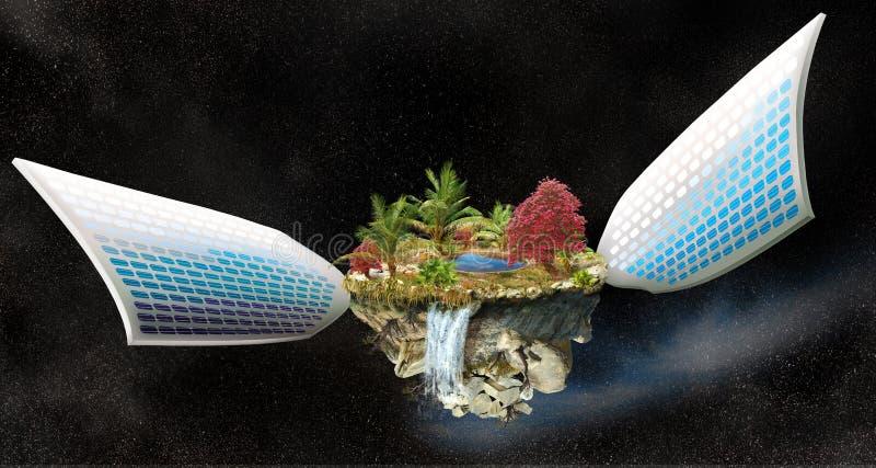 Isla de la fantasía con los paneles solares libre illustration