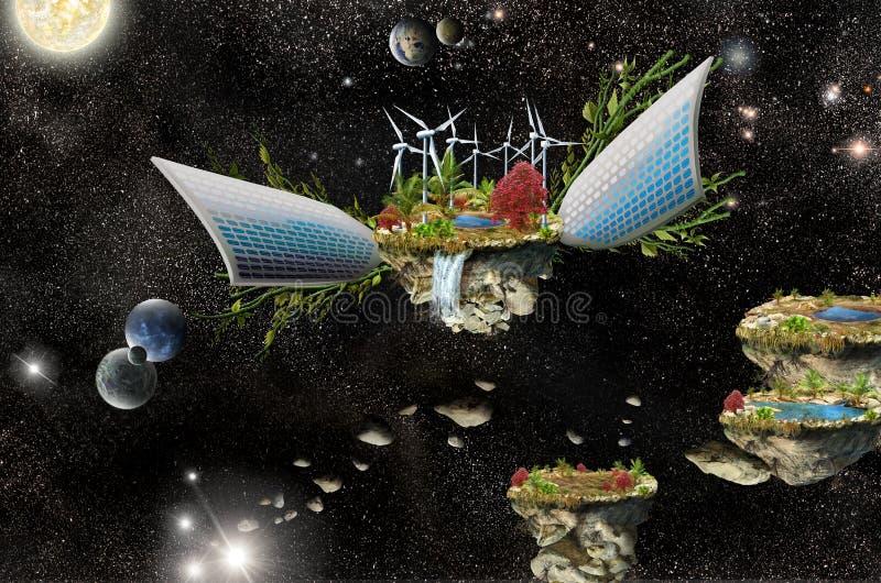 Isla de la fantasía con los paneles solares y la turbina de viento ilustración del vector