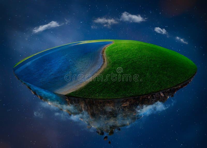 Isla de la fantasía que flota en el aire con el campo y el lago verdes stock de ilustración