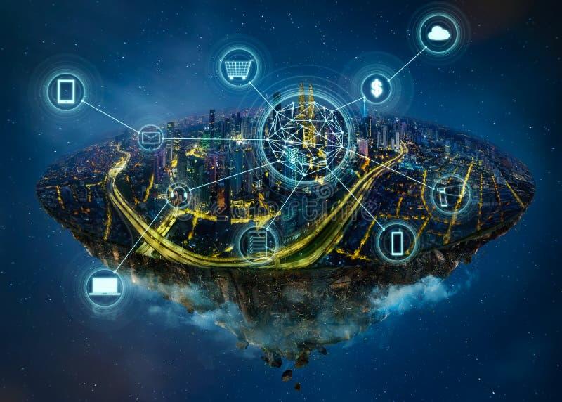 Isla de la fantasía que flota en el aire con la red de comunicaciones elegante de la ciudad y de la radio ilustración del vector