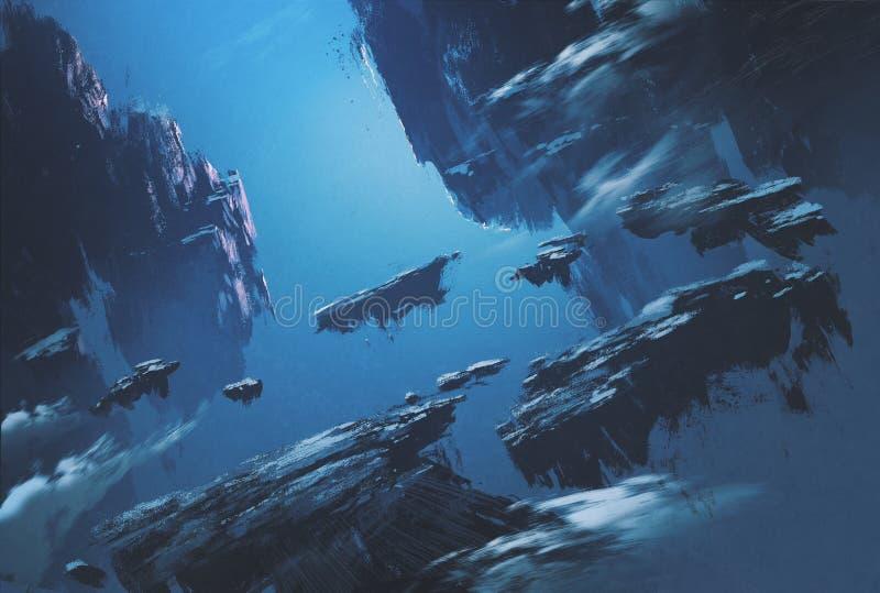 Isla de la fantasía que flota en el cielo ilustración del vector