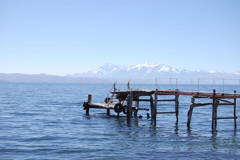 Island Dock with Andes View stock photography