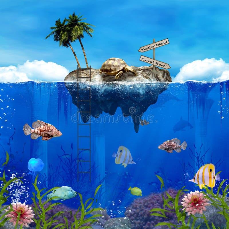 Isla de las tortugas de la fantasía por el arrecife de coral ilustración del vector