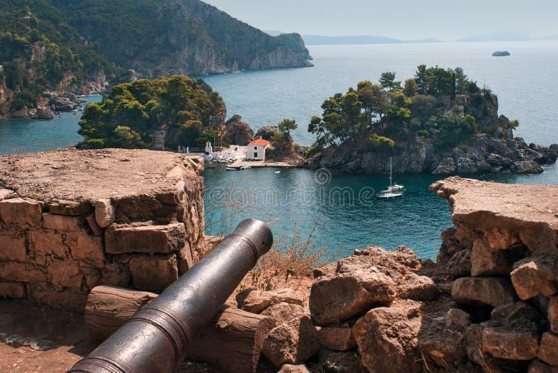 Isla de Panagia en Parga en Grecia fotos de archivo