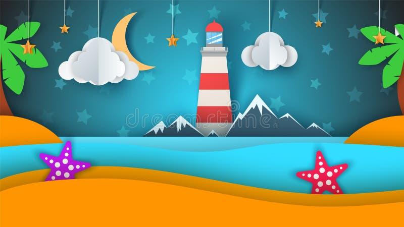 Isla de papel de la historieta Playa, palma, estrella, nube, montaña, luna, mar libre illustration