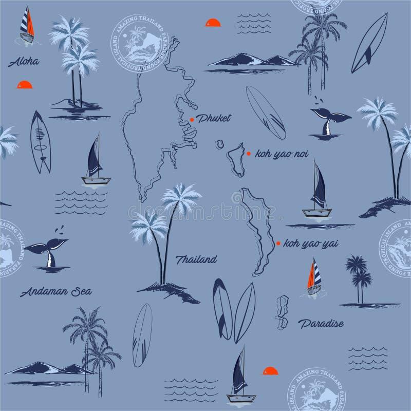 Isla de PHUKET en modelo inconsútil del paraíso de Tailandia del humor tropical, el diseño para la moda, la tela, la web, el pape libre illustration