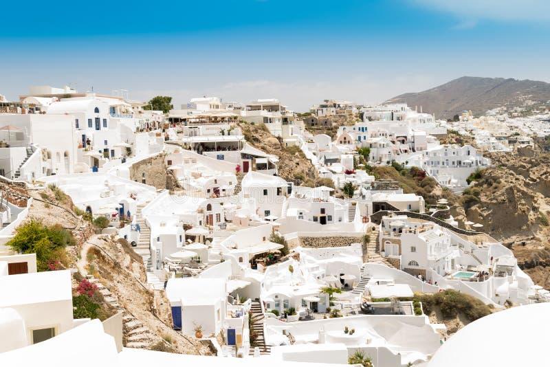 Isla de Santorini en Grecia Visión panorámica Destino turístico Verano imagenes de archivo