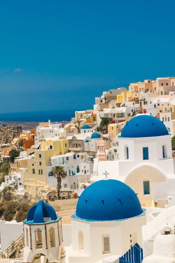 Isla de Santorini en Grecia Visión panorámica Destino turístico Verano fotos de archivo libres de regalías