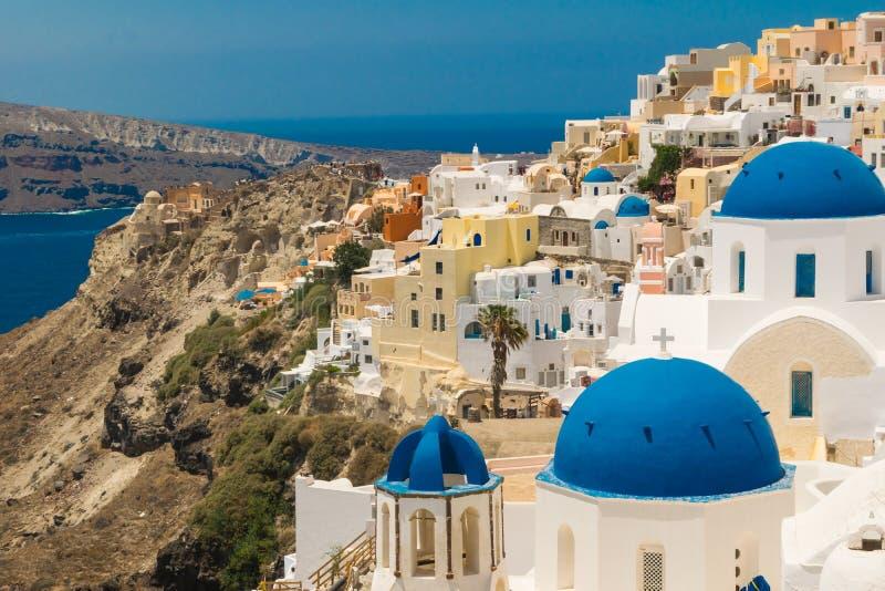 Isla de Santorini en Grecia Visión panorámica Destino turístico Verano imagen de archivo