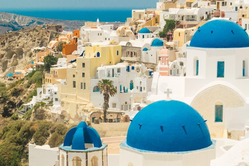 Isla de Santorini en Grecia Visión panorámica Destino turístico Verano fotografía de archivo libre de regalías