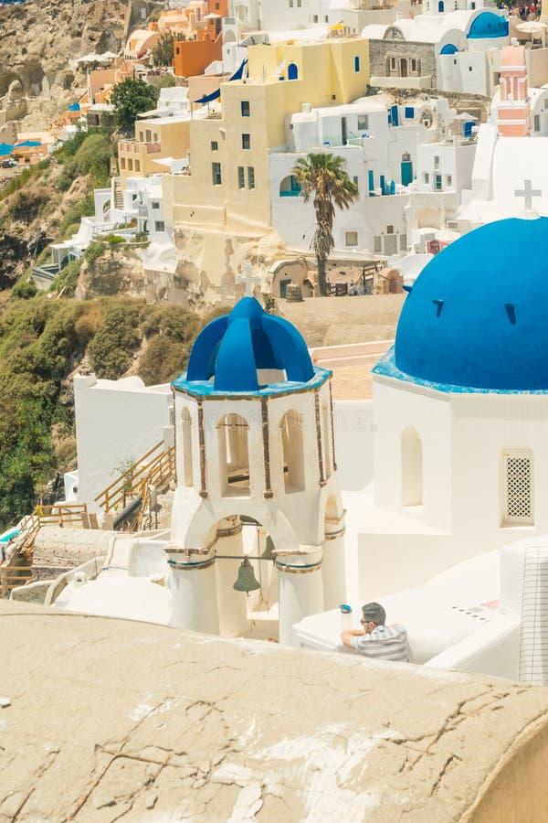 Isla de Santorini en Grecia Visión panorámica Destino turístico Verano foto de archivo