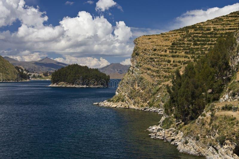 Isla de Sun en el lago Titicaca - Bolivia fotografía de archivo