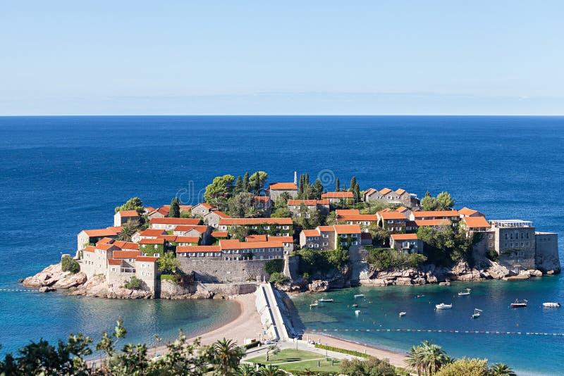Isla de Sveti Stefan en Budva foto de archivo