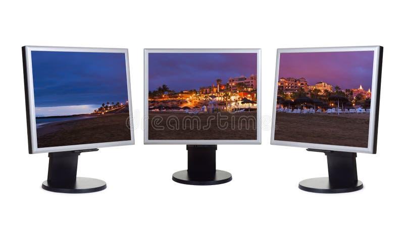 Isla de Tenerife (canario) en pantallas de ordenador fotos de archivo libres de regalías