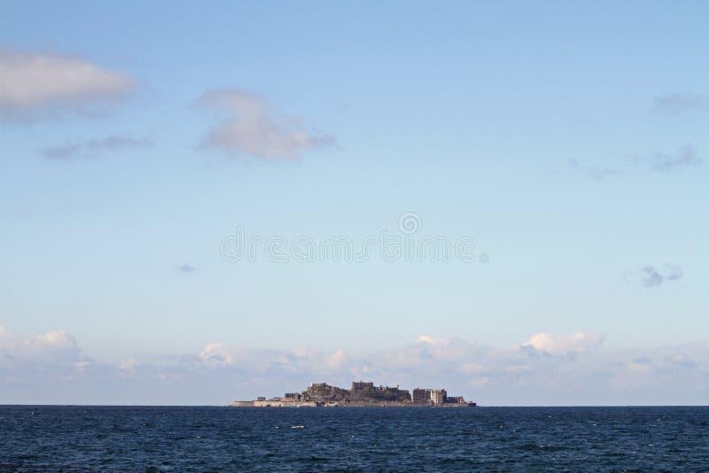 Isla del acorazado del jima de Gunkan en Nagasaki fotos de archivo