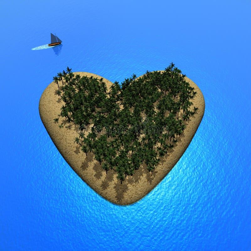 Isla del corazón - 3D rinden stock de ilustración