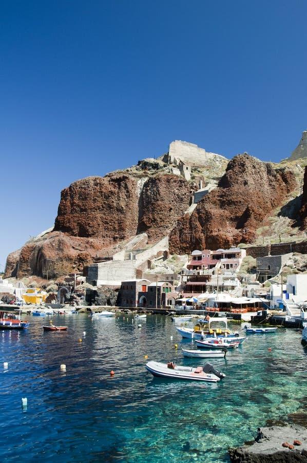 Isla del Griego del santorini de Oia de la bahía de Amoudi imagen de archivo libre de regalías