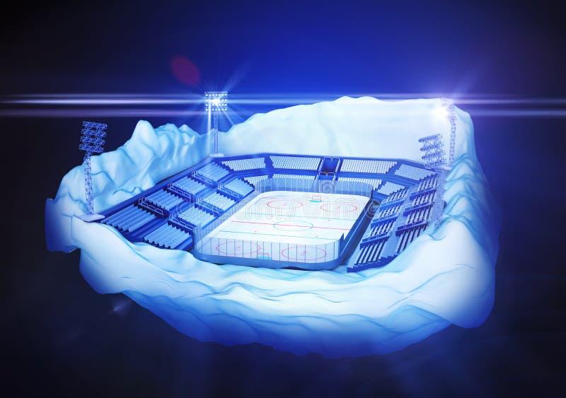 Isla del iceberg con el estadio del hockey ilustración del vector