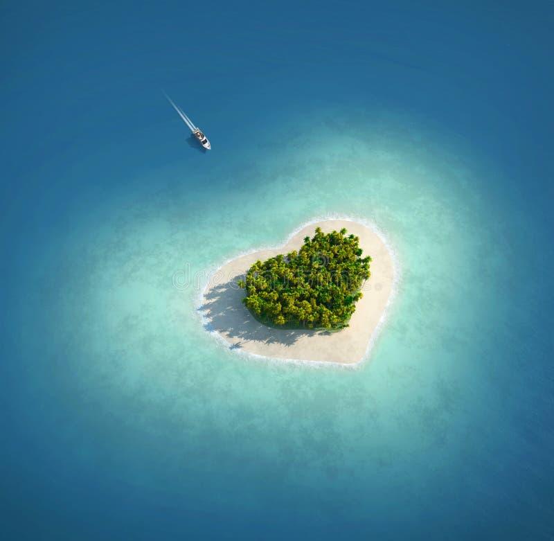 Isla del paraíso bajo la forma de corazón stock de ilustración