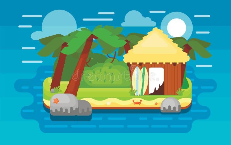 Isla del paraíso, ejemplo del vector stock de ilustración