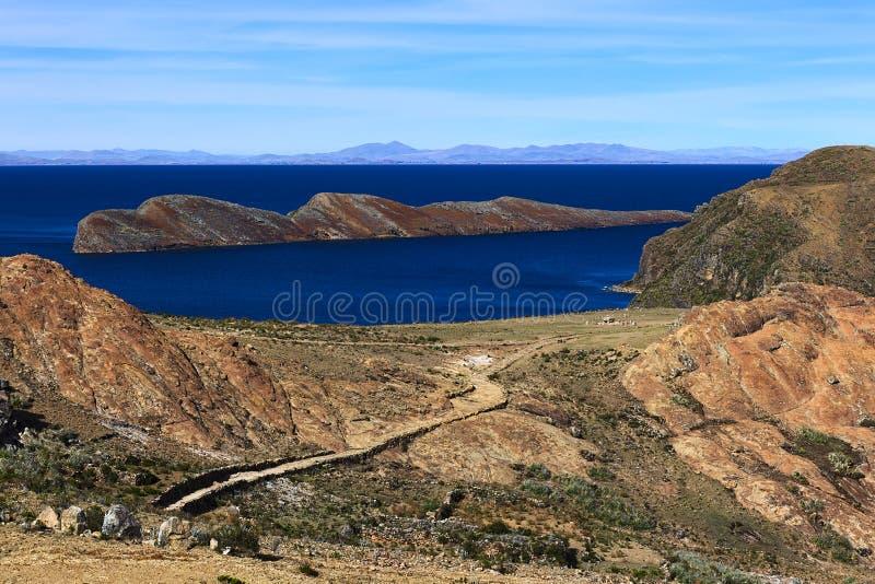 Isla del Sol在的喀喀湖,玻利维亚 免版税库存照片