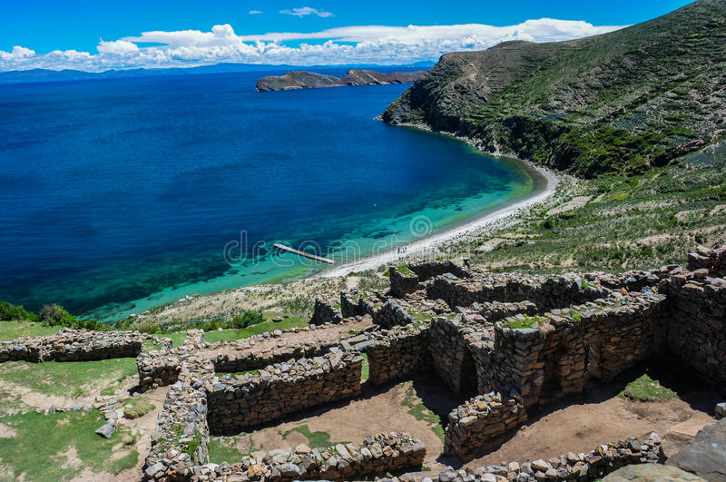 Isla del Sol,玻利维亚印加人废墟  免版税库存图片