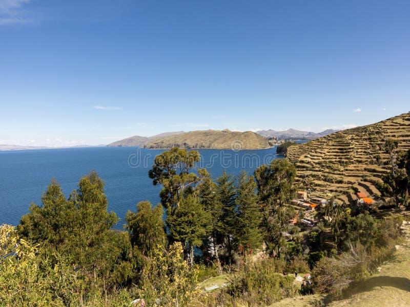 Isla del Sol (太阳的海岛) 湖Titicaca 库存照片