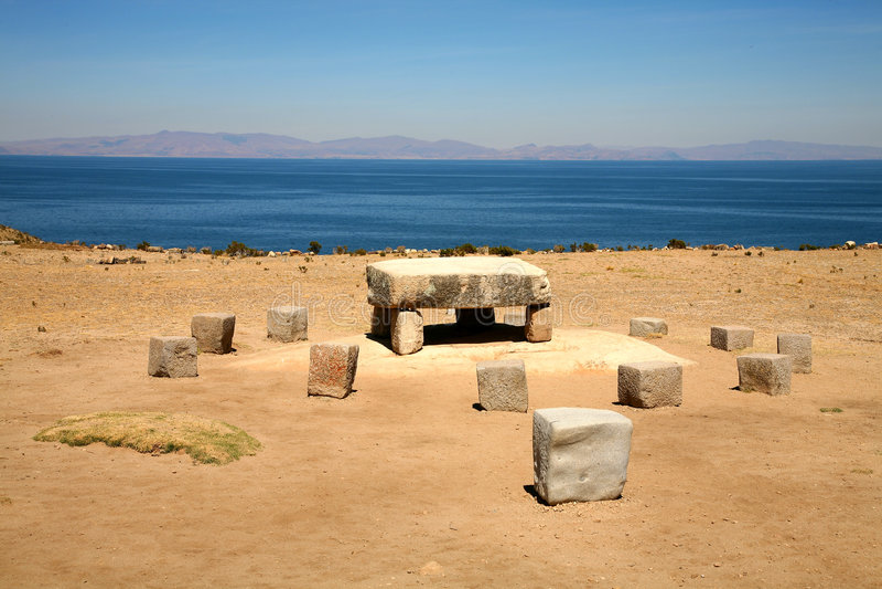 Isla del sol, Bolivia. Inca altar for making sacrifices to the gods on the Isla del Sol, Lake Titicaca, Bolivia royalty free stock image