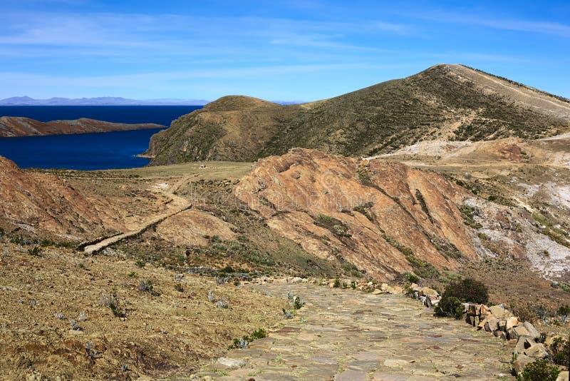Isla del Sol nel Titicaca, Bolivia immagini stock